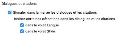 Capture d'écran Antidote 9 présentant les options Dialogues et Citations