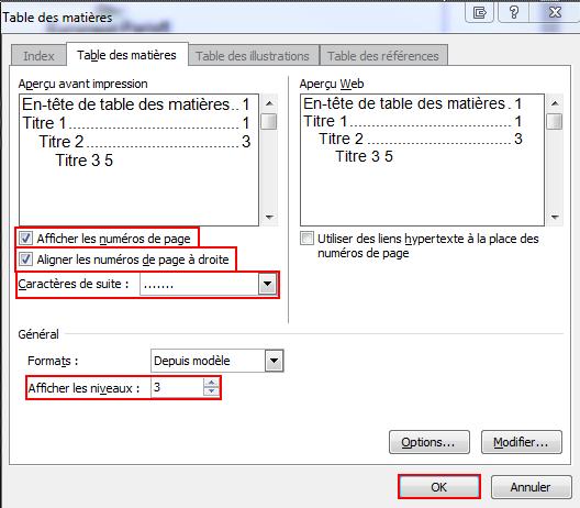Capture d'écran montrant les options à valider avant l'insertion d'une table des matières