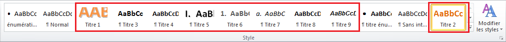 Capture d'écran de l'onglet style de Word