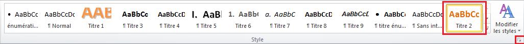 Capture d'écran de l'onglet Style sur Word