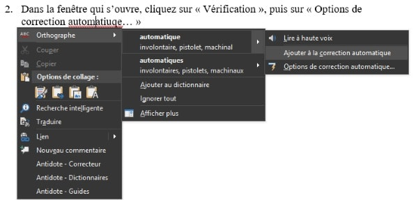 Capture d'écran de Word 2016 : correction automatique