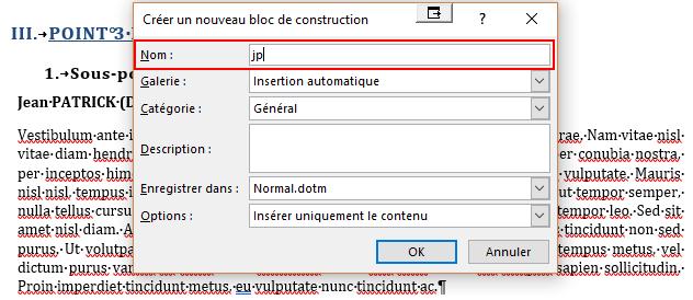 Capture d'écran de la création d'un nouveau bloc de construction