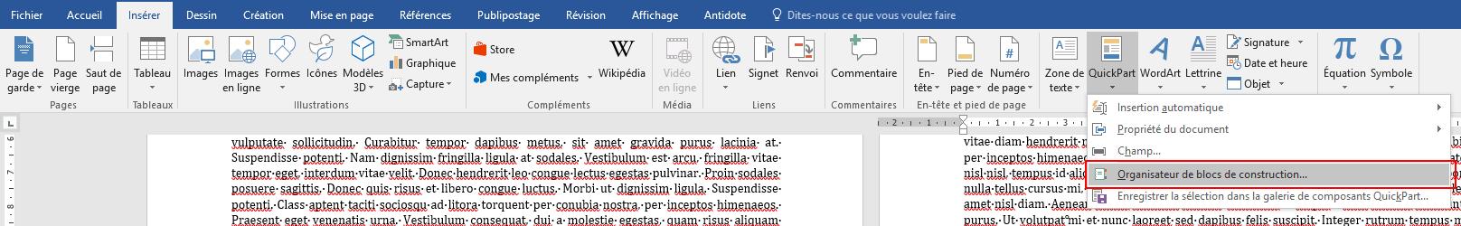 Capture d'écran de l'onglet Insérer, sur Word.