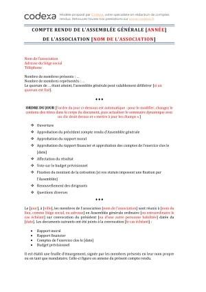 Modeles De Compte Rendu D Assemblee Generale D Association