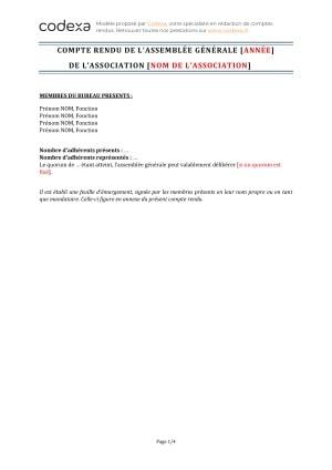 Modeles De Compte Rendu D Assemblee Generale D Association Loi 1901