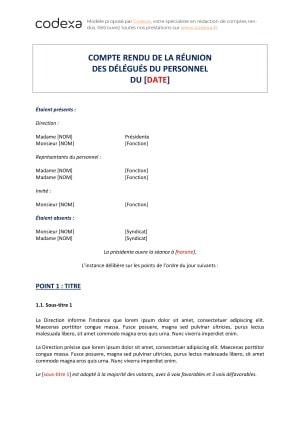 Modèle de compte rendu de délégués du personnel (DP) - Codexa