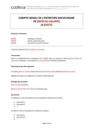 Modeles De Comptes Rendus D Entretien Codexa
