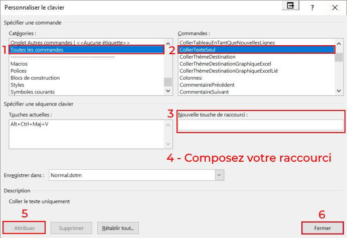 Capture d'écran de Word : Créer un raccourci