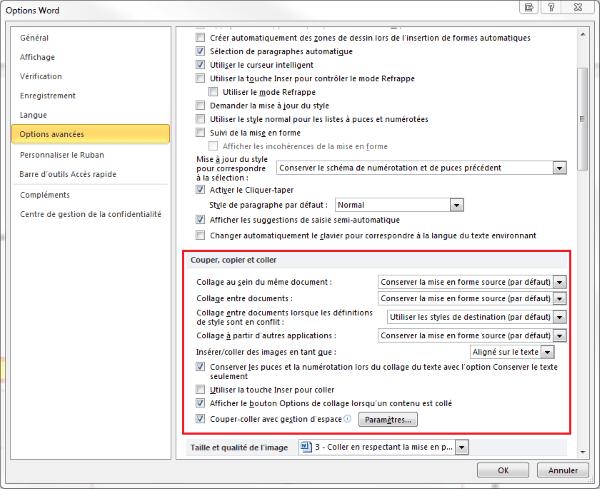 Capture d'écran Word : paramétrer le collage par défaut