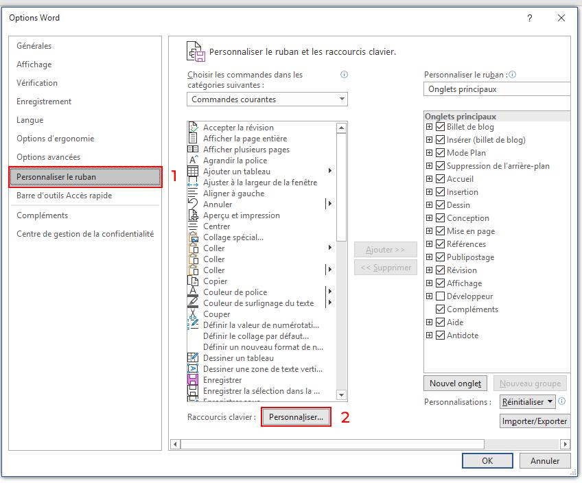 Capture d'écran de Word : personnaliser le ruban