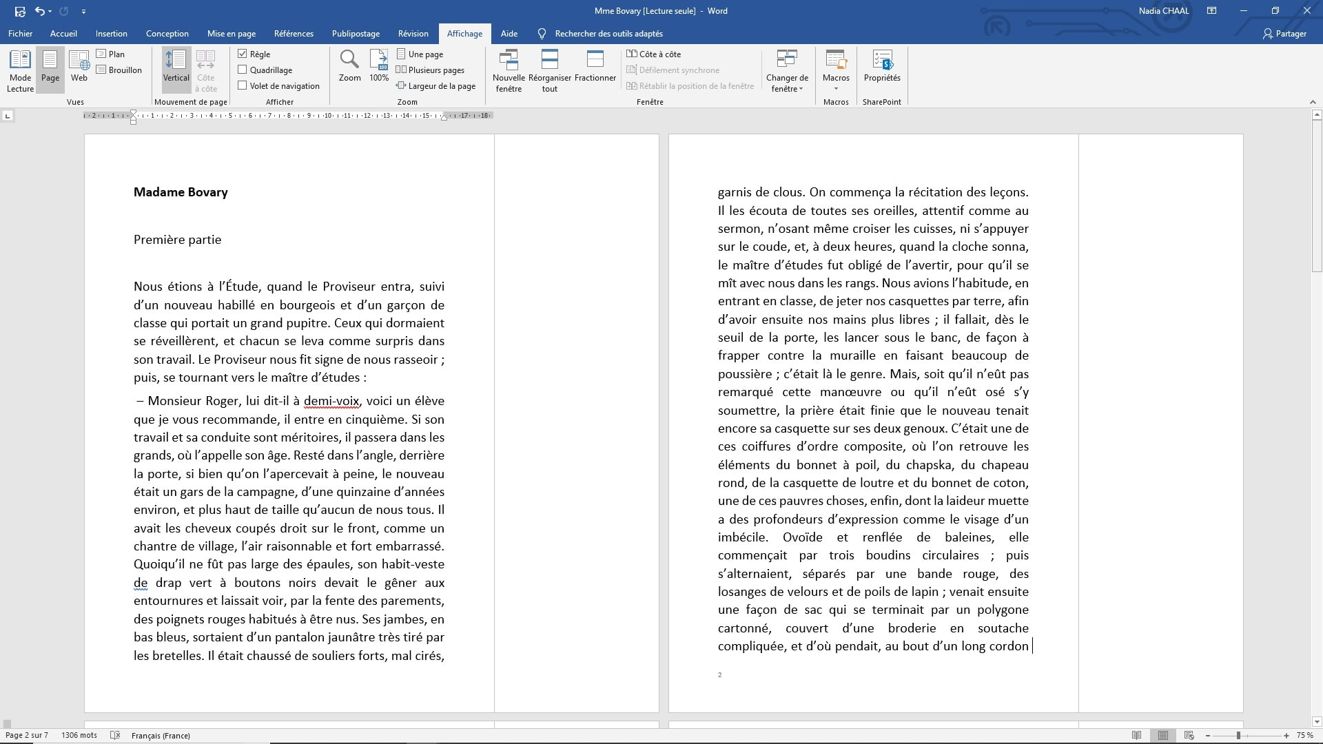 Capture d'écran Word : Première page différente