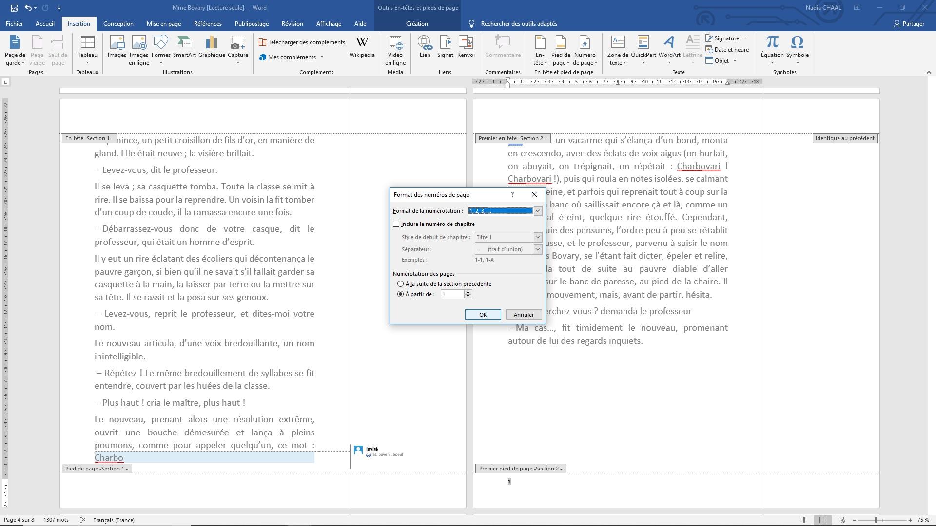 Capture d'écran Word : format de numérotation (nouvelle section)