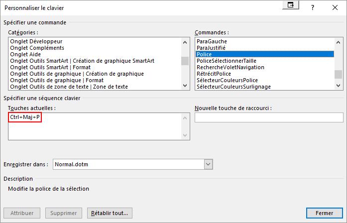 Capture d'écran de Word : touches actuelles
